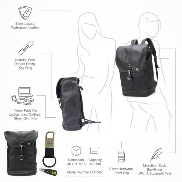 6e140b0f5412 Dapper Dashy  No Limit Mens Vintage Leather Trim Backpack + Designer ...
