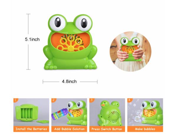 Dapper Kids Frog Bubble Machine Toy for Kids, Party, Bath, Indoor/Outdoor  Use (Liquid + Batteries Not Inc)